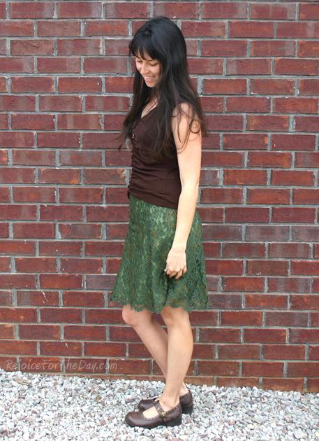 thrifted green skirt