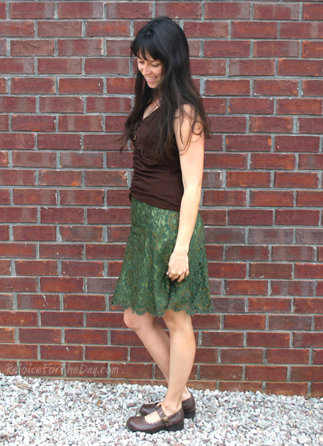 thrifted green skirt