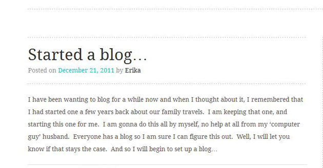 Started a blog screenshot