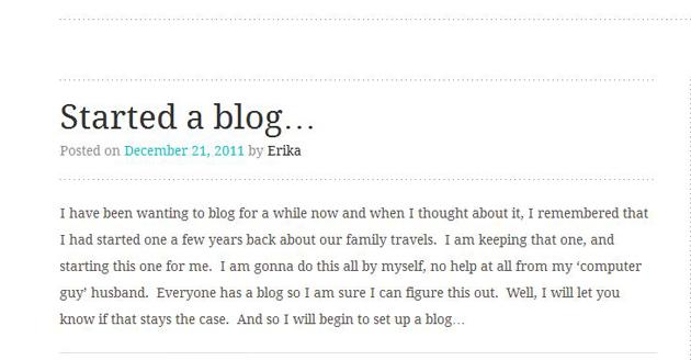Started a blog screenshot