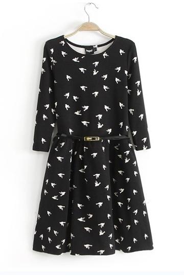 flying birds print dress