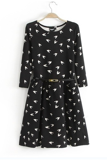 flying birds print dress