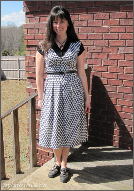 Skechers Sandals and a polka dotted dress