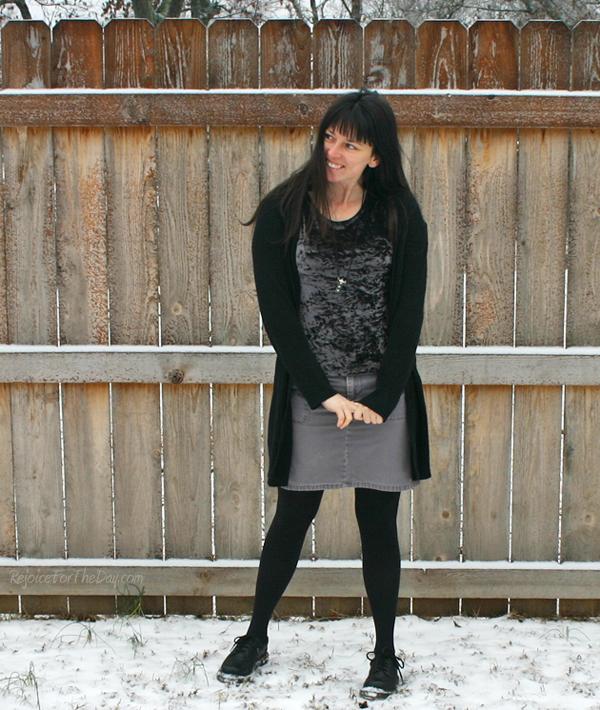 grey velvet shirt with grey skirt