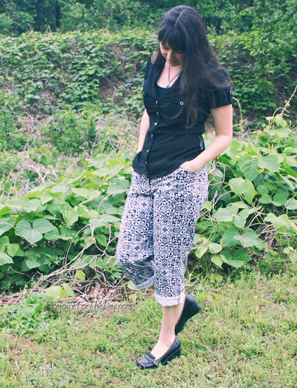 black and white cuffed pants