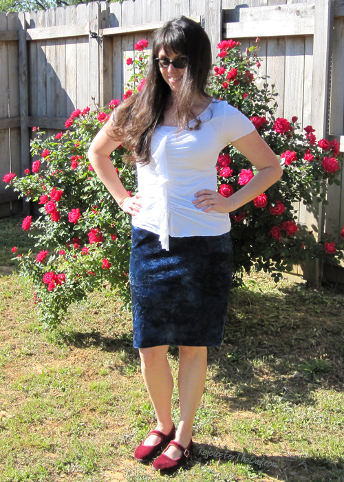 blue crushed velvet skirt