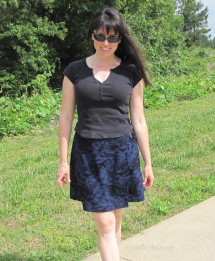 Blue wrap skirt