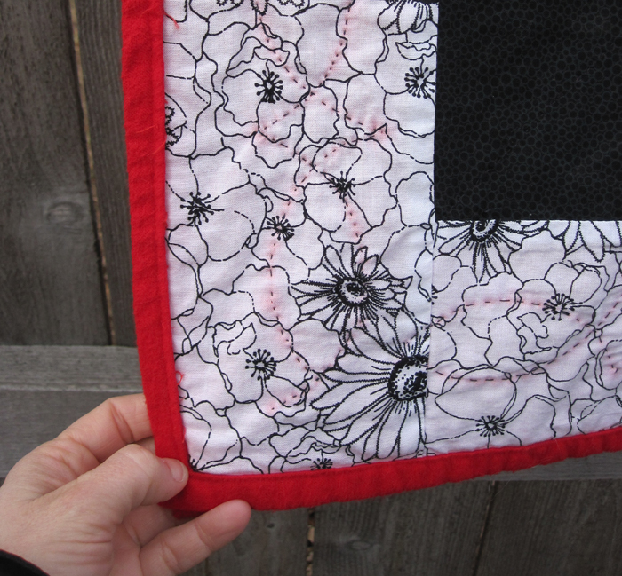 completed quilt stitches