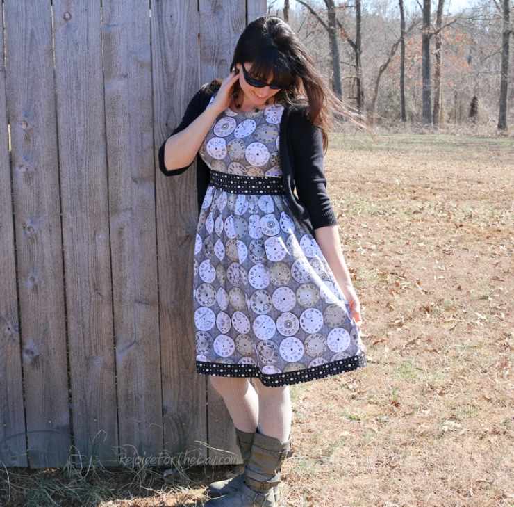 retro style clock dress