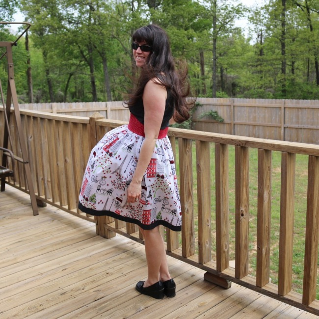 Outfit outtake, plus look how nice the deck and fence look after being power-washed!