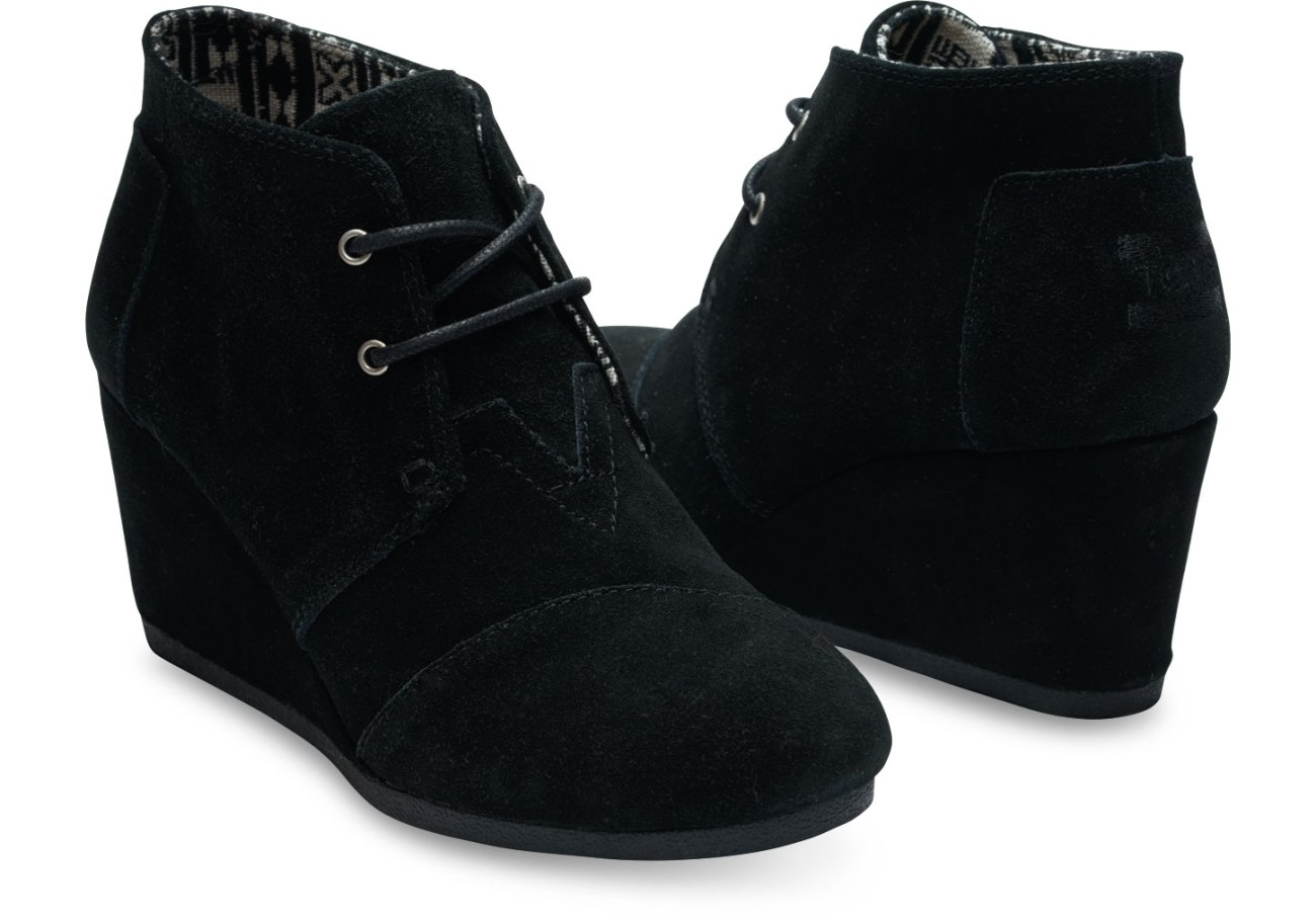 Tom's Black Suede Women's Desert Wedge bootie