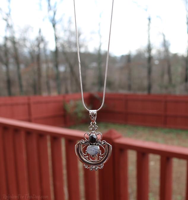 Arabesque Necklace hanging 1