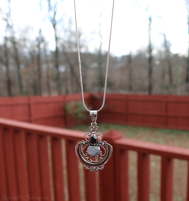 Arabesque Necklace hanging 1