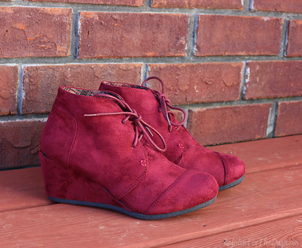 Burgundy Wedge Booties