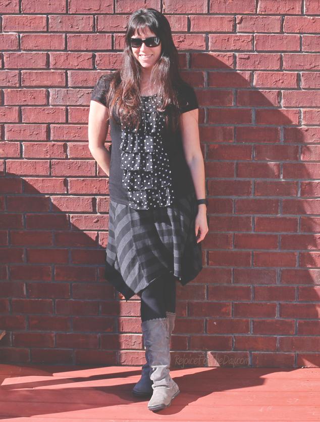 wearing stripes and polka dots